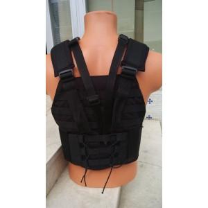 Siyah Hücum Yeleği SIG HK33 G3 MPT76 Ak47 Göbek Üstü  (Plakalıklı)