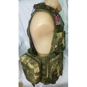 G3 HK Fermuarlı Hücum Yeleği Kamoflaj Haki Fileli (Plakalıklı)