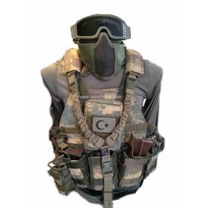 Özel Dikim Hücum Yeleği Kamuflajlı HK33 Mpt76 Ak47  (Plakalıklı)