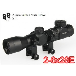 2-6x28E Tüfek Dürbünü Işıklı Kısa