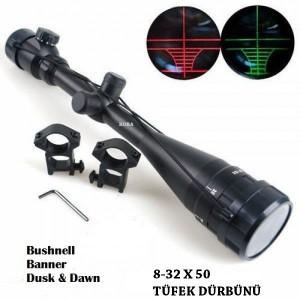 8-32x50 AOE Bushnell Tüfek Dürbünü Işıklı